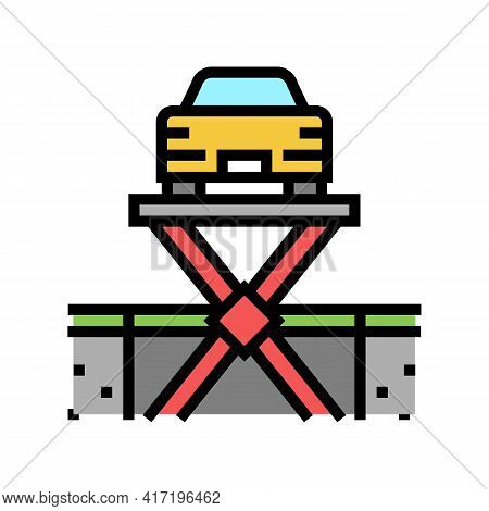 Lift Equipment Parking Color Icon Vector. Lift Equipment Parking Sign. Isolated Symbol Illustration