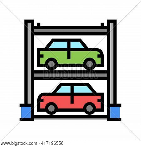 Multilevel Automobile Parking Color Icon Vector. Multilevel Automobile Parking Sign. Isolated Symbol
