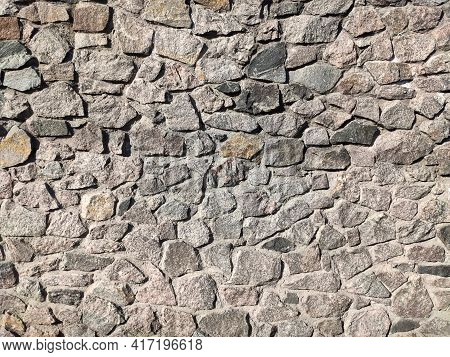 Background Of Large Stones Wall Texture With Different Colors
