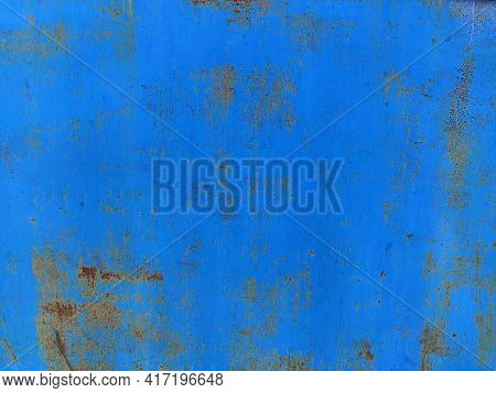 Rusty Metal Panel With Cracked Blue Paint, Corroded Grunge Metal Background