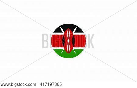 Kenya Circle Flag Graphic Design Vector  Illustration.