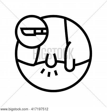 Hemorrhoids Disease Line Icon Vector. Hemorrhoids Disease Sign. Isolated Contour Symbol Black Illust