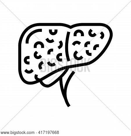 Liver Cirrhosis Disease Line Icon Vector. Liver Cirrhosis Disease Sign. Isolated Contour Symbol Blac