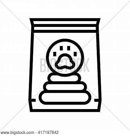 Cleaning Dog Poop In Bag Line Icon Vector. Cleaning Dog Poop In Bag Sign. Isolated Contour Symbol Bl