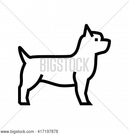 Yorkshire Terrier Dog Line Icon Vector. Yorkshire Terrier Dog Sign. Isolated Contour Symbol Black Il