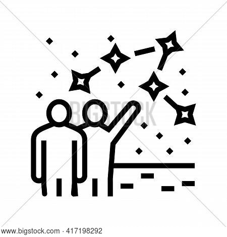 People Talk About Constellation Planetarium Line Icon Vector. People Talk About Constellation Planet