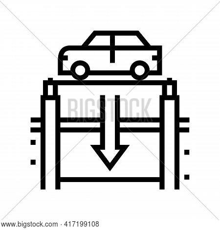 Elevator Lowering Car On Underground Parking Line Icon Vector. Elevator Lowering Car On Underground