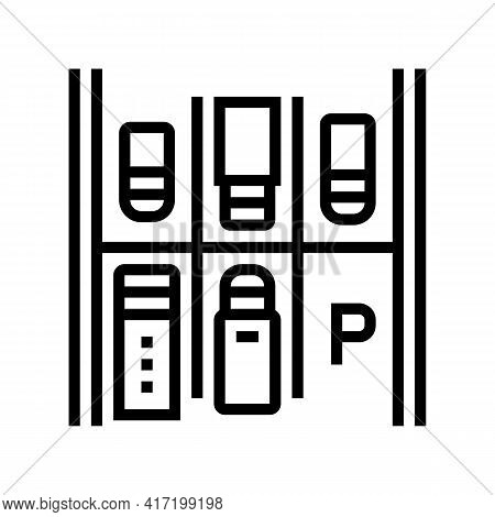 Free Place On Parking Line Icon Vector. Free Place On Parking Sign. Isolated Contour Symbol Black Il