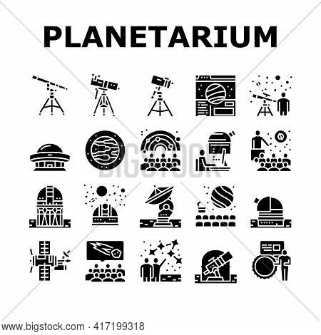 Planetarium Equipment Collection Icons Set Vector. Planetarium Speaker About Stars And Planets, Obse