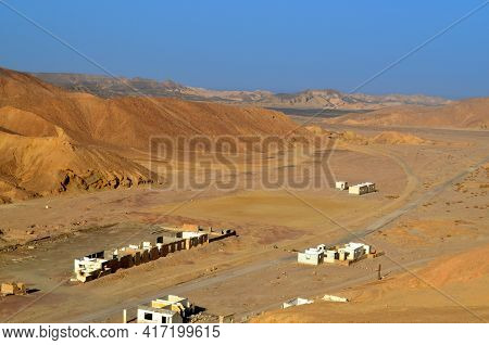 Abandoned House, Ruins In The Desert. Landscape. Egypt. Desert. The Beautiful Landscape Is Yellow Sa
