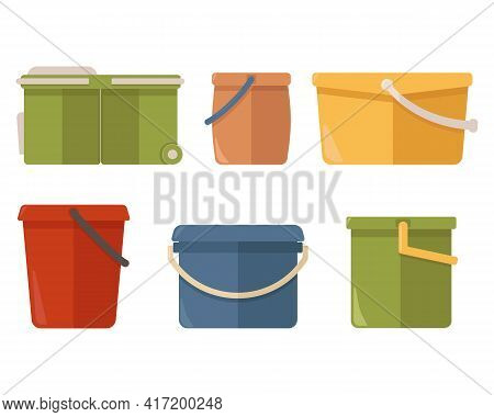 Colorful Plastic Buckets Of Different Shapes, Isolated On White Background. Household Bucket For Was
