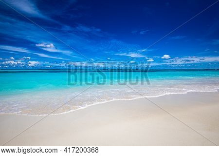 Sea Sand Sky Concept, Vivid Summer Colors, Blue Sky White Clouds, Horizon, Horizontal Background Ban