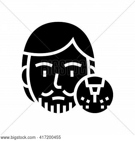 Male Mustache And Beard Removal Line Icon Vector. Male Mustache And Beard Removal Sign. Isolated Con