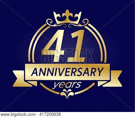 41 Year Anniversary. Gold Round Frame With Crown And Ribbon. Vector Illustration For Birthday, Weddi