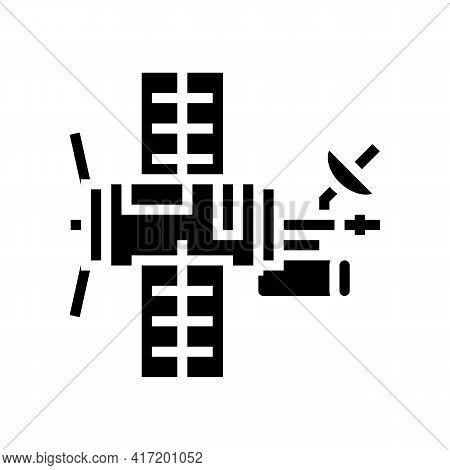 Satellite Equipment Line Icon Vector. Satellite Equipment Sign. Isolated Contour Symbol Black Illust