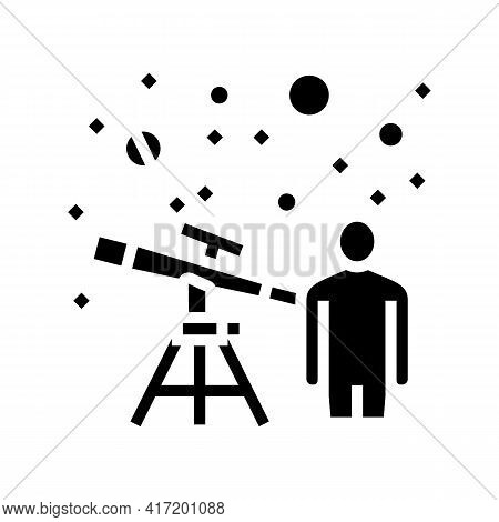 Astronomer Watching In Telescope On Stars Line Icon Vector. Astronomer Watching In Telescope On Star