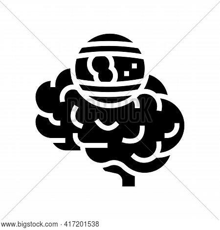 Stroke Brain Problem Line Icon Vector. Stroke Brain Problem Sign. Isolated Contour Symbol Black Illu