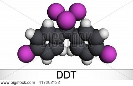 Ddt, Dichlorodiphenyltrichloroethane Molecule. It Is Commonly Used Organochlorine Insecticide. Molec
