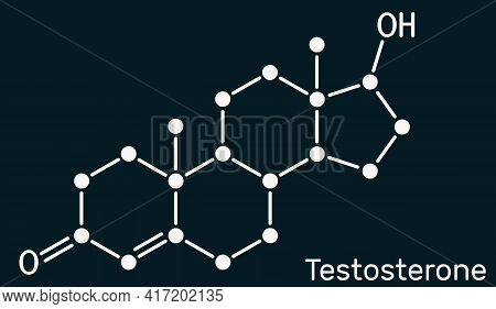 Testosterone, Testosteron Molecule. It Is Androgenic Steroid Sex Hormone. Skeletal Chemical Formula