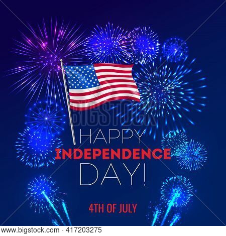 Realistic Fireworks 4 July Usa Background With Composition Of Festive Firework Display And Editable