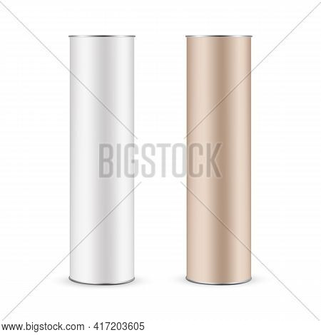 Cardboard Kraft And Paper Tube Mockup Isolated On White Background, Front View. Vector Illustration
