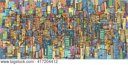 Illustration With Architecture, Skyscrapers, Megapolis, Buildings, Downtown