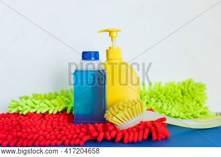 Housework, Housekeeping And Household Concept, Cleaning Stuff On White Background.bottle Of Detergen