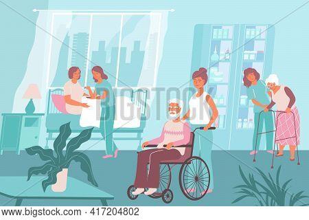 Nurse Hospital Composition Several Nurses Work In A Nursing Home And Help The Elderly Vector Illustr