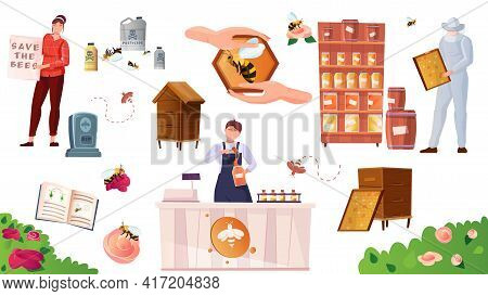 Beekeeping Color Icons Set With Green Meadows Bees Collecting Nectar Pots With Honey Isolated Vector