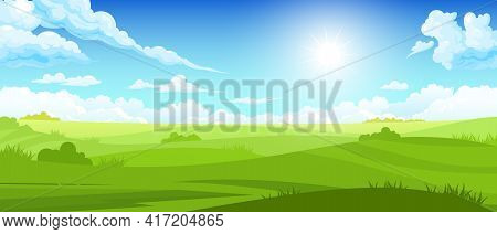 Colored Summer Landscape With Sunlight On Cloudy Sky And Green Fields Cartoon Vector Illustration