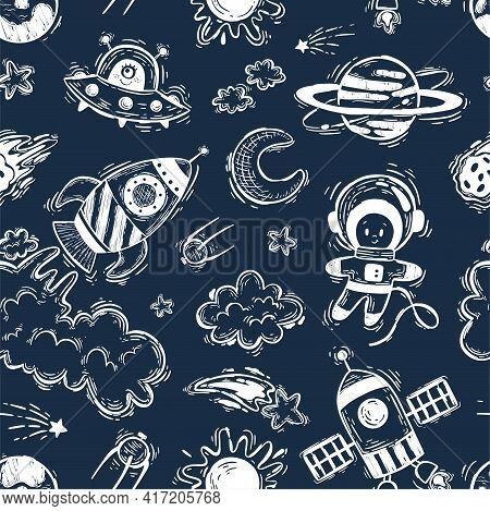 Cosmos Seamless Pattern On A Dark Background. Rocket, Space Shuttle, Astronaut, Stars, Ufo, Moon, Sa