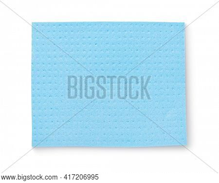 Top view of blue cellulose absorbent wipe isolated on white