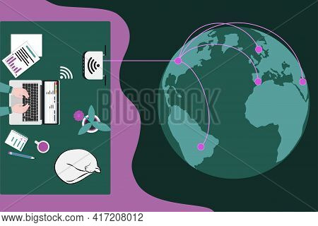 Workplace For Telework Or Learning And Earth