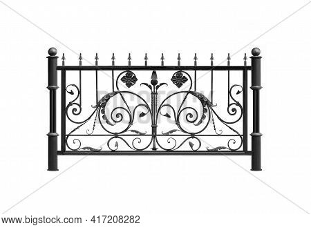 Forged Railings, Fence, Fencing  In Ancient Style. Isolated On White Background.