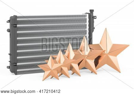 Rating Of Car Radiator Concept. Auto Radiator With Five Golden Stars, 3d Rendering Isolated On White