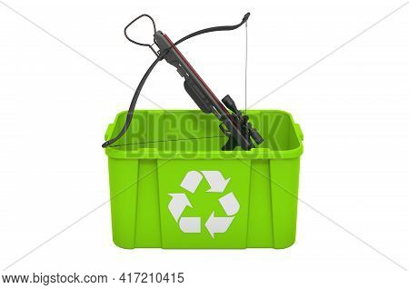 Recycling Trashcan With Crossbow. 3d Rendering Isolated On White Background