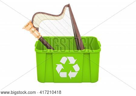 Recycling Trashcan With Harp, Lyre. 3d Rendering Isolated On White Background