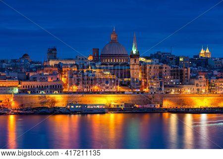 Architecture of Valletta, the capital of Malta at dusk.