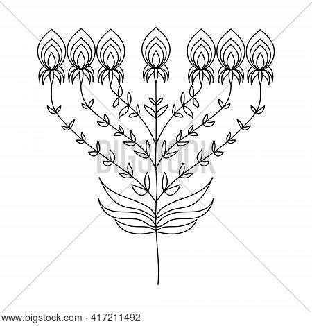 Fantasy Flower With Umbrella Inflorescence, Delicate Doodle Plant Vector Illustration For Design