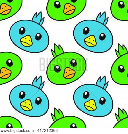 Chick Bird Cute Seamless Pattern Textile Print. Great For Summer Vintage Fabric, Scrapbooking, Wallp