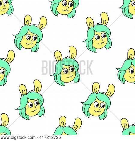 Bunny Girlfriend Seamless Pattern Textile Print. Great For Summer Vintage Fabric, Scrapbooking, Wall