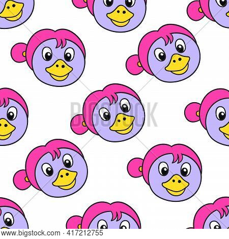 Duck Mom Seamless Pattern Textile Print. Great For Summer Vintage Fabric, Scrapbooking, Wallpaper, G