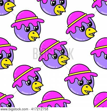Duck Hat Smile Seamless Pattern Textile Print. Great For Summer Vintage Fabric, Scrapbooking, Wallpa