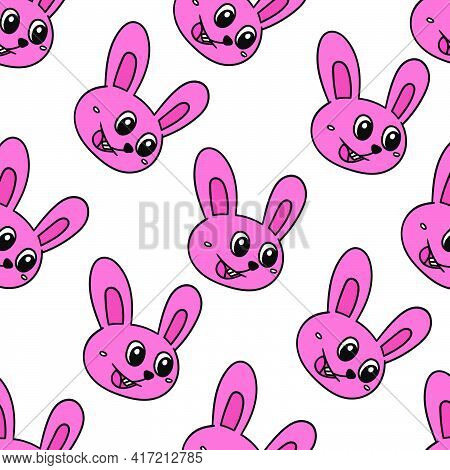 Happy Bunny Pet Seamless Pattern Textile Print. Great For Summer Vintage Fabric, Scrapbooking, Wallp