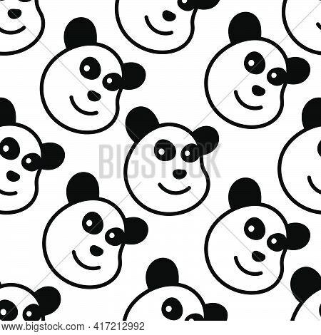 Cute Panda Seamless Pattern Textile Print. Great For Summer Vintage Fabric, Scrapbooking, Wallpaper,