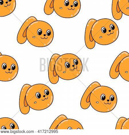 Female Orange Bunny Rabbit Seamless Pattern Textile Print. Great For Summer Vintage Fabric, Scrapboo