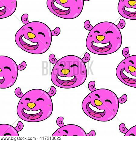 Pink Laugh Bear Seamless Pattern Textile Print. Great For Summer Vintage Fabric, Scrapbooking, Wallp