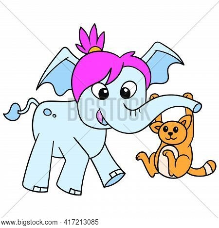 The Female Elephant Plays With Her Feline Friend Using Its Trunk, Vector Illustration Art. Doodle Ic