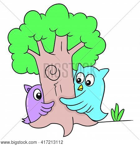 An Owl And His Friend Were Playing Hide And Seek Under A Big Tree, Vector Illustration Art. Doodle I