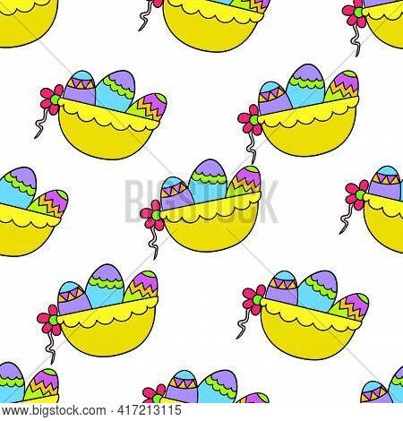 Basket Easter Eggs Seamless Pattern Textile Print. Great For Summer Vintage Fabric, Scrapbooking, Wa
